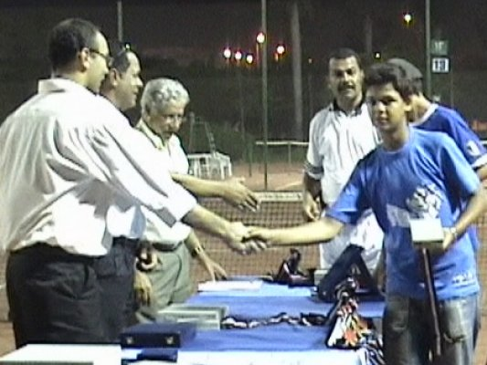 Shams 2006, receiving Doubles first  Place trophy from Former Wimbledon Champ and Head of Egyptian Tennis Federation, Ismail El-Shafei